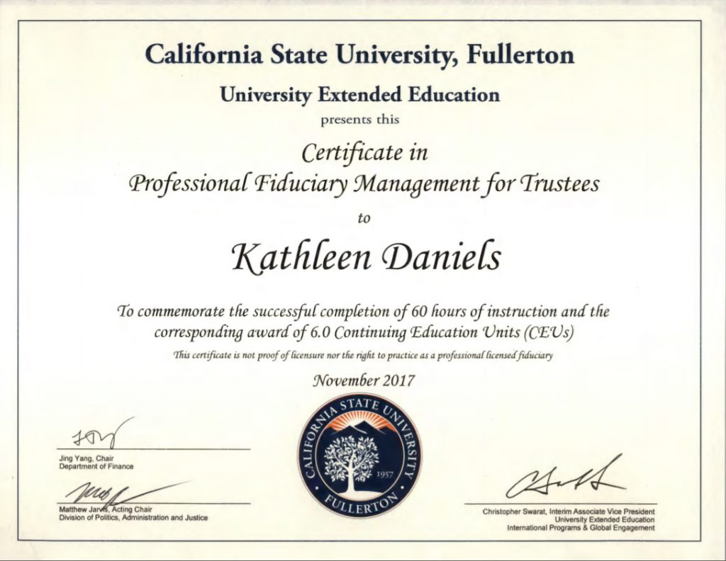 Professional Fiduciary Management for Trustees Certificate