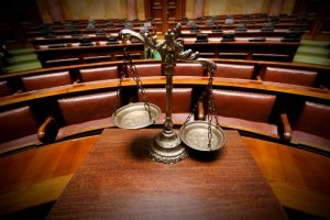 Empty courtroom following an eviction trial